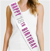 Pink Happy 18th Birthday Foil & Rhinestone Sash | Birthday Sashes | RhinestoneSash.com