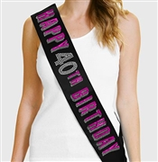 Pink Happy 40th Birthday Foil & Rhinestone Sash | Birthday Sashes | RhinestoneSash.com