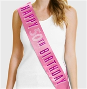 Pink Happy 50th Birthday Foil & Rhinestone Sash | Birthday Sashes | RhinestoneSash.com