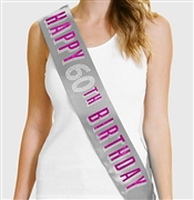 Pink Happy 60th Birthday Foil & Rhinestone Sash | Birthday Sashes | RhinestoneSash.com