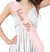 Future Mrs. Custom Rose Gold Glitter & Rhinestone Sash | Bridal Sashes | RhinestoneSash.com