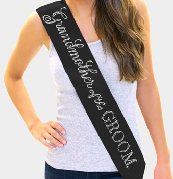 """Grandmother of the Groom"" Rhinestone Sash 