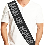 Man of Honor Rhinestone Sash