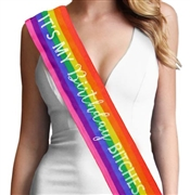 Rainbow It's My Birthday Bitches Rhinestone Sash | Birthday Sashes | RhinestoneSash.com
