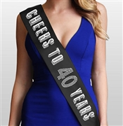 Cheers To 40 Years Silver Birthday Sash | 40th Birthday Accessory - RhinestoneSash.com