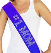 """#1 Mom"" Rhinestone Sash - Mother's Day Sash 