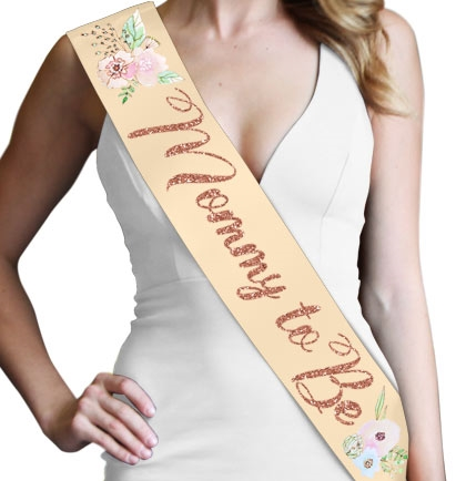 Mommy To Be Baby Shower 3 Satin Sash with Glitter Lettering
