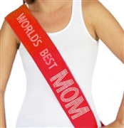 """Worlds Best Mom"" Rhinestone Sash 