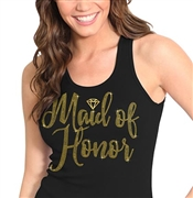 Maid of Honor w/Diamond Gold Rhinestud Tank