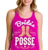 Bride's Posse Gold & White Flowy Racerback Tank
