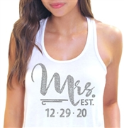 """Mrs."" Custom Wedding Date Rhinestone Tank Top 