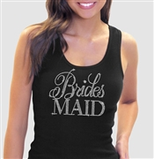 Flirty Bridesmaid Black Rhinestone Tank Top