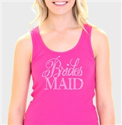Flirty Bridesmaid Hot Pink Rhinestone Tank Top