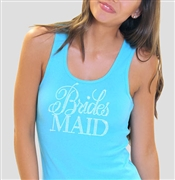 Flirty Bridesmaid Turquoise Rhinestone Tank Top