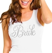 White Flirty Bride Rhinestone Tank Top