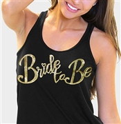 """Bride to Be"" Gold Sequin Flowy Racerback Tank Top: Black 