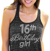 16th Birthday Girl Flowy Racerback Tank Top