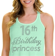 16th Birthday Princess Flowy Racerback Tank Top