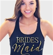 Bridesmaid Modern Gold Flowy Racerback Tank In Solid Black | Rhinestonesash.com