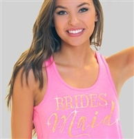 Bridesmaid Modern Gold Flowy Racerback Tank In Solid Electric Pink | Rhinestonesash.com