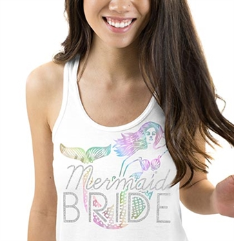 Mermaid Bride lridescent Flowy Racerback Tank: Sheer White  | Bridal Tank Tops | RhinestoneSash.com