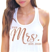 The Mrs. EST Chic Rose Gold Glitter Flowy Racerback Tank