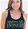 Matron of Honor Modern Gold Flowy Racerback Tank: Black