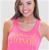 Matron of Honor Modern Gold Flowy Racerback Tank: Electric Pink