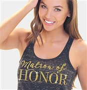 Matron of Honor Modern Gold Flowy Racerback Tank: Black Marble