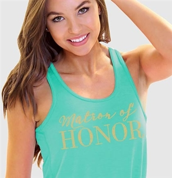 Matron of Honor Modern Gold Flowy Racerback Tank: Teal