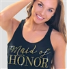 Maid of Honor Modern Gold Flowy Racerback Tank in Solid Black | Rhinestonesash.com
