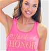 Maid of Honor Modern Gold Flowy Racerback Tank in Electric Pink | RhinestoneSash.com