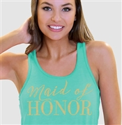 """Maid of Honor"" Gold Rhinestud Flowy Racerback Tank in Teal 