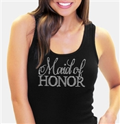 Maid of Honor/Matron of Honor Rhinestone Tank Top in Black | RhinestoneSash.com