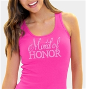Maid of Honor/Matron of Honor Rhinestone Tank Top in Pink | RhinestoneSash.com