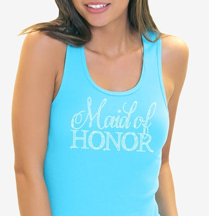 d5bbef1ec8b0a Maid of Honor Matron of Honor Rhinestone Tank in Turquoise