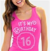 It's My Birthday '16' Frame Rhinestone Tank Top | Birthday Tank Tops | RhinestoneSash.com