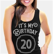 It's My Birthday '20' Frame Rhinestone Tank Top | Birthday Tank Tops | RhinestoneSash.com