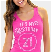 It's My Birthday '21' Frame Rhinestone Tank Top | Birthday Tank Tops | RhinestoneSash.com