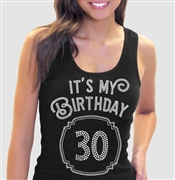It's My Birthday '30' Frame Rhinestone Tank Top | Birthday Tank Tops | RhinestoneSash.com