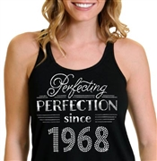 Perfecting Perfection Since 1968 Flowy Racerback Tank Top | 50th Birthday Tank Top