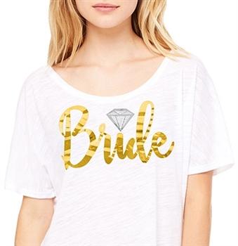 882f710c Bride w/Diamond Flowy Tee | Bridal T-shirts | RhinestoneSash.com