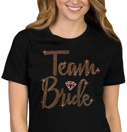 Team Bride w/Diamond Rose Gold Rhinestud T-Shirt