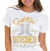 Gettin' Hitched Gold & Silver Foil Tee | Bride-To-Be T-Shirts | RhinestoneSash.com