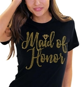 Maid of Honor w/Diamond Gold Rhinestud T-Shirt