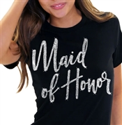 Maid of Honor Glam Rhinestone T-Shirt | Bridal T-shirts | RhinestoneSash.com