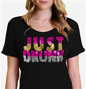 Just Drunk Sequin Flowy Tee | Bridal T-shirts | RhinestoneSash.com