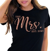 The Mrs. EST Chic Rose Gold Glitter T-Shirt | Bridal T-shirts | RhinestoneSash.com
