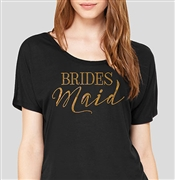 """Bridesmaid"" Modern Gold Flowy T-Shirt - Black 