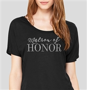 Matron Of Honor Modern Flowy T-Shirt: Black